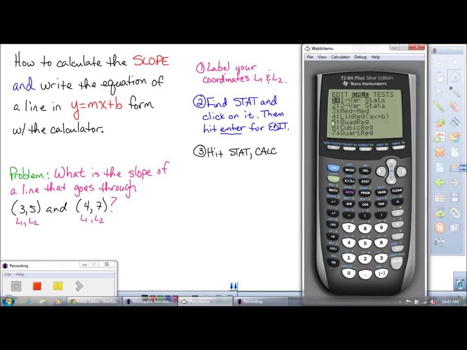 How To Use A Ti Graphing Calculator To Find The Slope And The