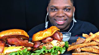 ASMR EATING CHICKEN BACON CLUB SANDWICH & SEASONED FRIES (no talking)   CALIENTAY ASMR MUKBANG