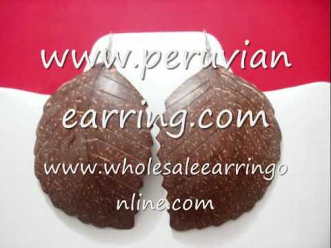 Coconut Earrings Coconut Shell Leaf style 104