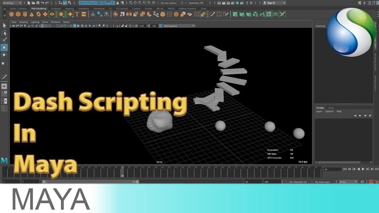 Dash Scripting Autodesk Maya 2018 Tutorial - Mash Scripting in Autodesk Maya