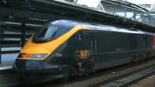 UK: Eurostar Class 373 trains at Leeds on GNER