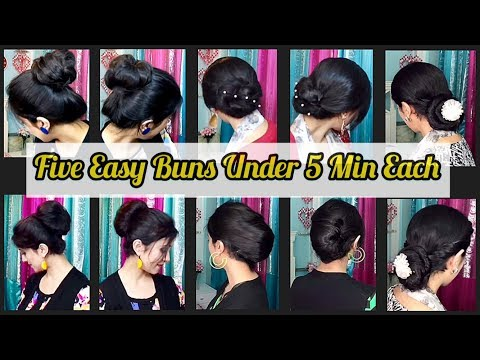 five-easy-buns-under-5-min-each-|-new-bun-hairstyle-for-parties