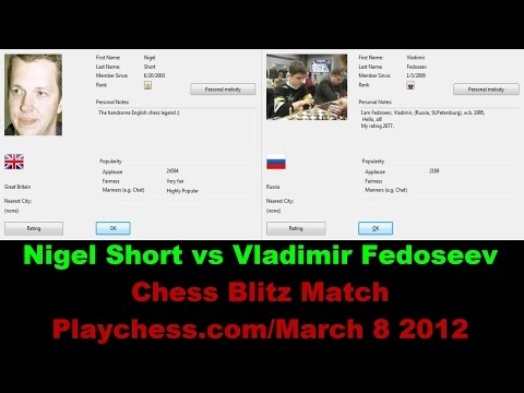 ♚ GM Nigel Short vs GM Vladimir Fedoseev Chess Blitz on Playchess.com