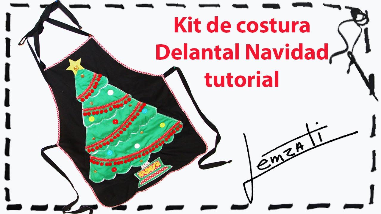 Delantal Navidad Tutorial en Español - YouTube