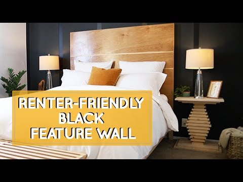 Home color inspiration for renters that can\'t paint: bedroom makeover with  black feature wall