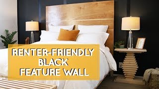 Home color inspiration for renters that can't paint: bedroom makeover with black feature wall