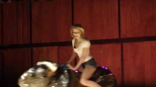 Shanna's impressive mechanical-bull-riding skills
