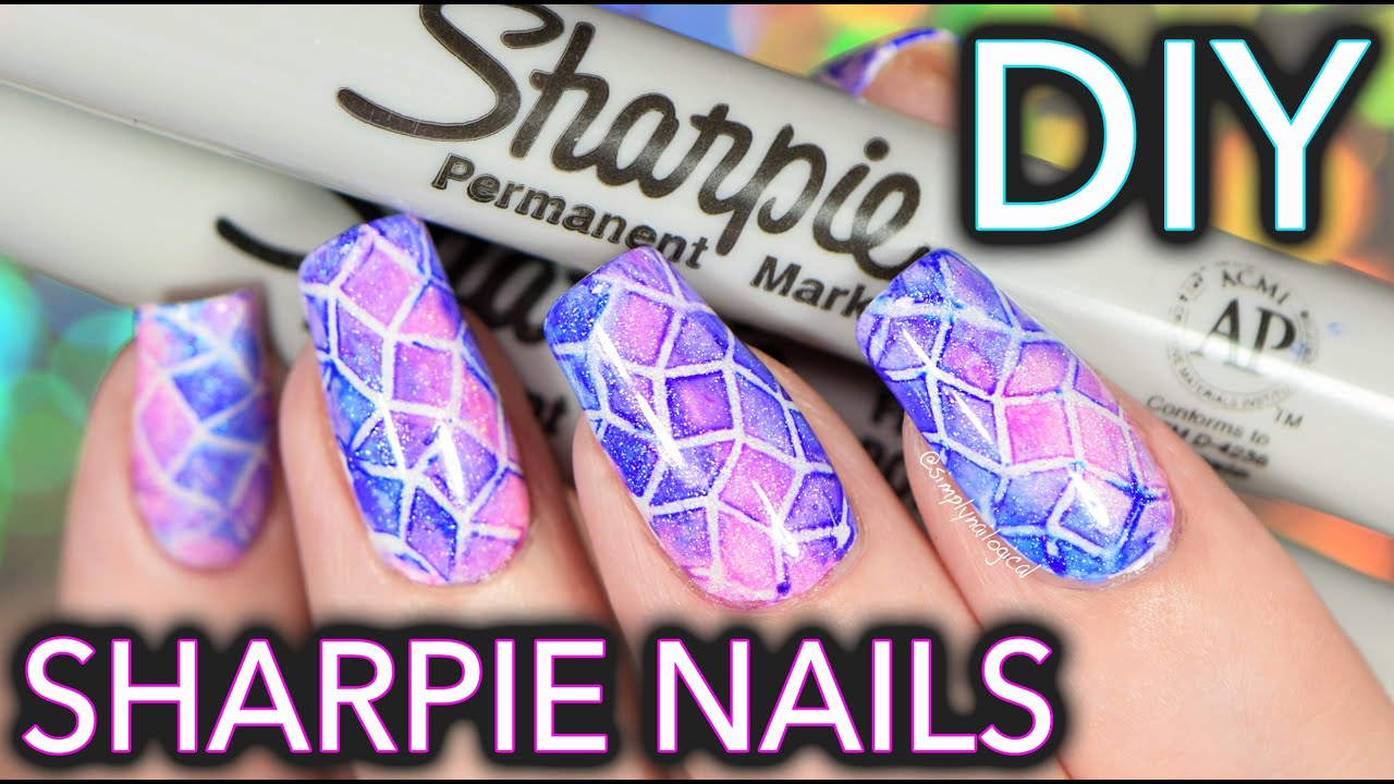Sharpie Watercolour Nail Art WITH PATTERN!!! - YouTube