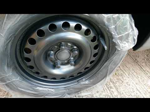Spray Painting Steel Wheels,  Transit Connect