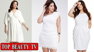 Top Plus size white dress, plus size party dresses for women