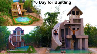 Amazing Top 3 Build Water Slide To Swimming Pool On Three Story Villa House