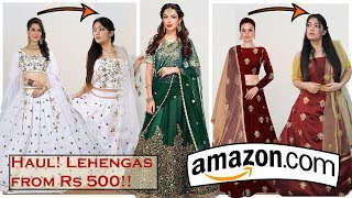 Amazon Lehenga Haul and Try-On |Lehengas starting Rs 500 ! Amazon Review| Indian Wedding Wear