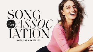"""Sara Bareilles Sings Elton John, Shania Twain, and """"Brave"""" in a Game of Song Association   ELLE"""