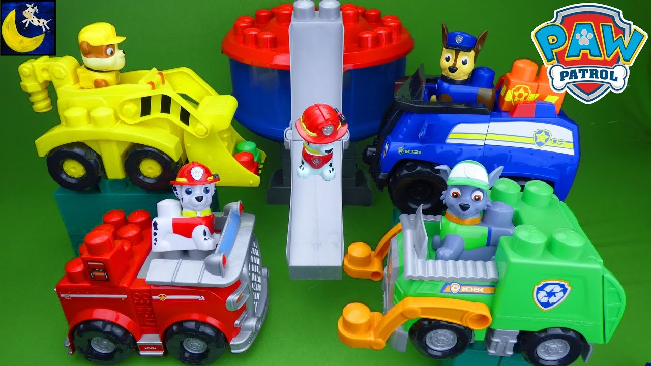paw patrol ionix toys chase u0026 39 s cruiser rubble u0026 39 s digger rocky u0026 39 s recycling truck lookout tower