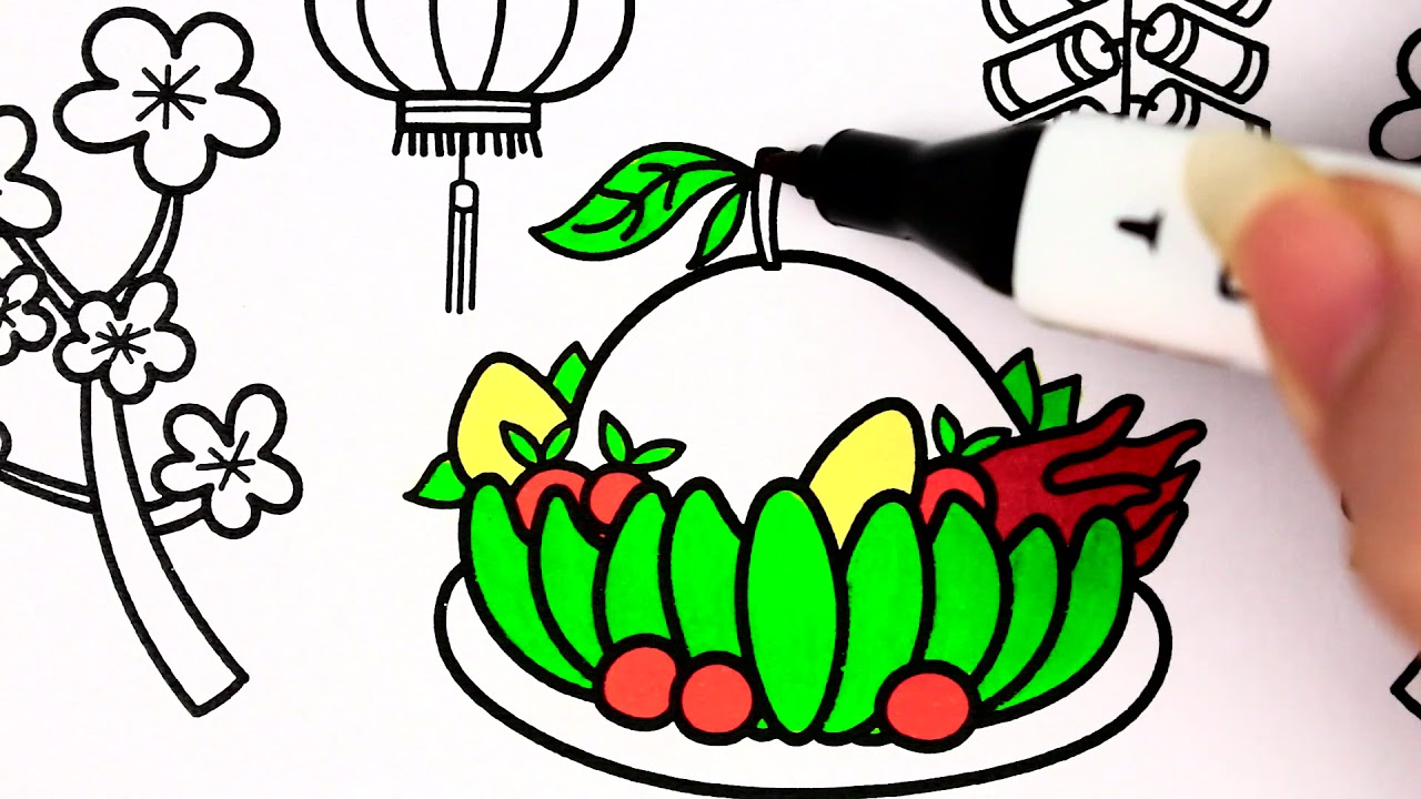 Tet Holiday - Lunar New Year Colouring Page For Kids - YouTube