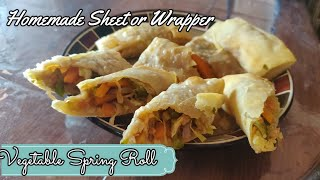 Vegetable Spring Roll with homemade sheet or wrapper | Homemade easy spring roll recipe
