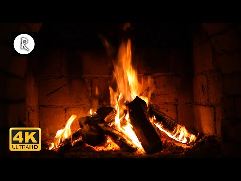 Crackling Fireplace w/ Thunder, Rain & Howling Wind Sounds - 10 Hours 4K