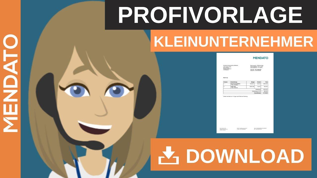 Kleinunternehmer Rechnung Kosenlos Zum Sofortigen Download