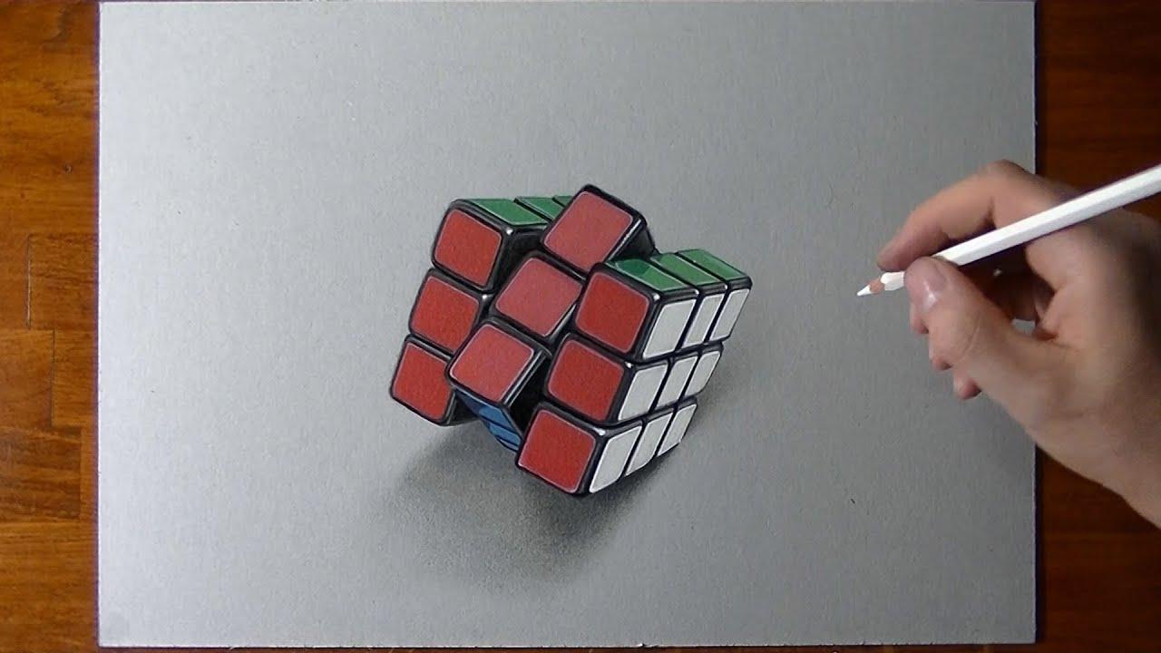 Disegno realistico in timelapse cubo di rubik  YouTube