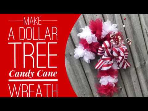 How To Make A Dollar Tree Candy Cane Wreath / Decorate For Christmas
