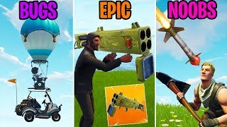 LE ROCKET LAUNCHER BFG! BUGS vs EPIC vs NOOBS - Fortnite Funny Moments (Battle Royale)