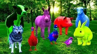 Farm Animals Sounds Videos For Kids || Cow Duck Rabbit || 3D Animation Rhymes vesves Songs For