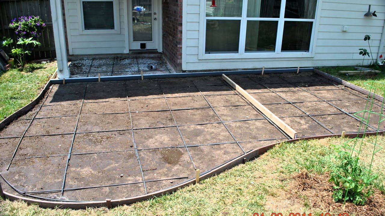 Decorative concrete patios and patio extensions youtube for How much does it cost to have a foundation poured