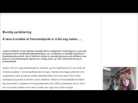Inger Langseth: Eksempel på innledning i akademisk tekst (nybegynnere)
