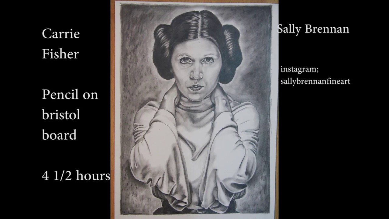 Carrie Fisher time lapse pencil sketch - YouTube