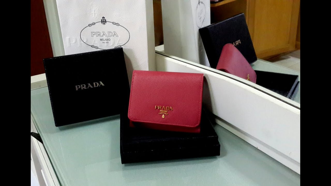 metallic flap mini wallet Prada