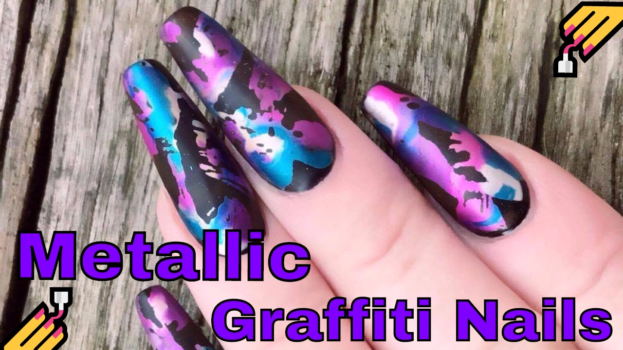 Kirsty S Metallic Graffiti Nails As Requested Youtube
