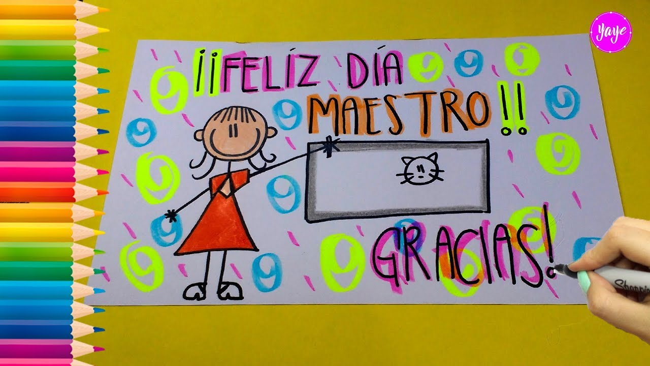 Ideas Para Dibujar Hermosa Tarjeta Día Del Maestro How To Draw A Card For Teachers Day Yaye