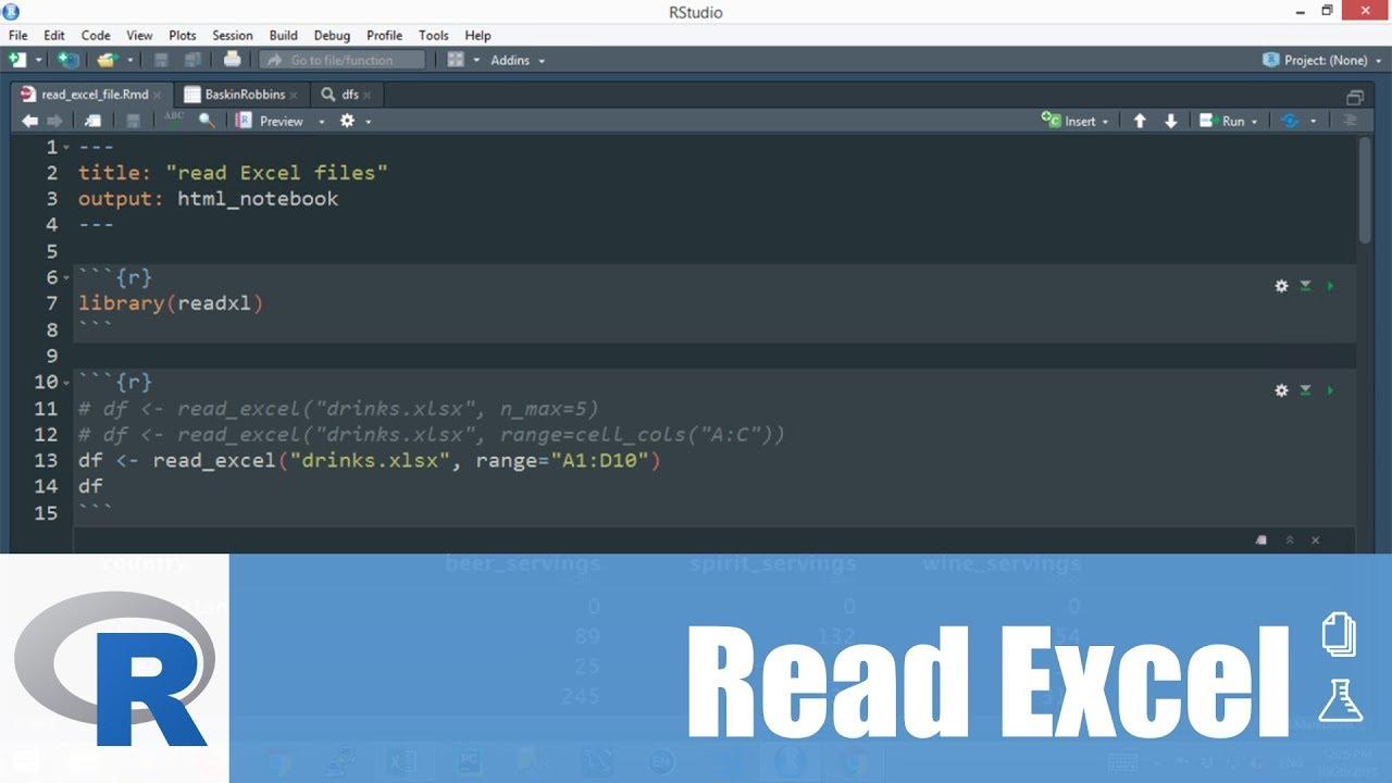 การใช้โปรแกรม R: การอ่านข้อมูลจาก Excel มาสร้างเป็น Dataframe