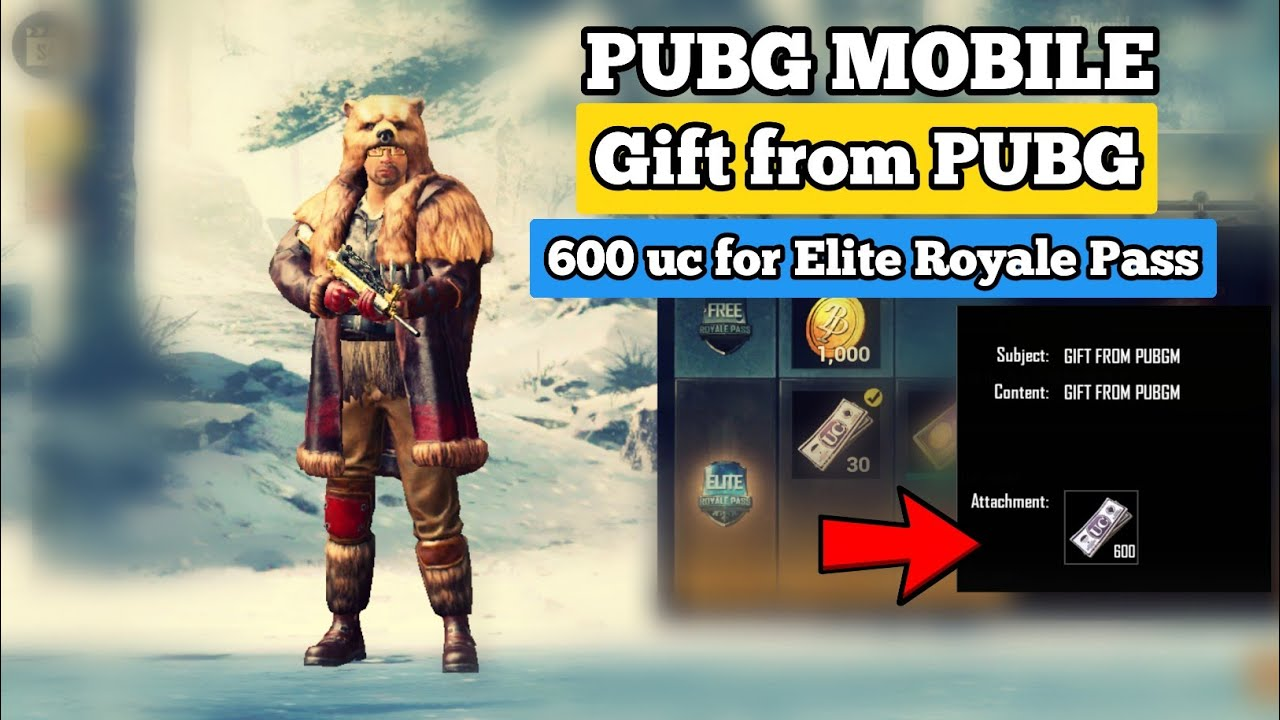 600 uc gift from Pubg mobile+Elite Royale Pass gift from Pubg mobile+Pubg  mobile hindi
