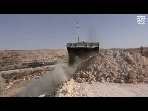 Israeli military destroys dirt road to Masafer Yatta in South Hebron Hills