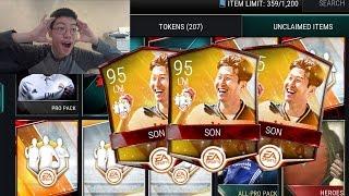 Fifa mobile *new* totw 95 son!! 88+ ovr + elite totw pulls!! totw pack opening