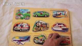 Melissa And Doug Wooden Vehicle Sound Puzzle Review Fire Truck, Airplane, Motorcycle, Train