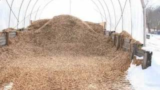 Heating a greenhouse with biomass - wood chips