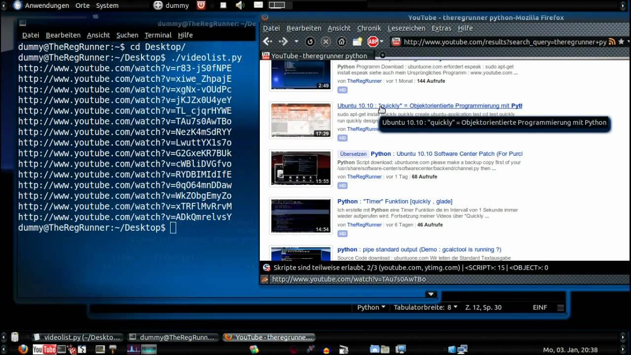 YouTube Video List - download - Python Demo Script