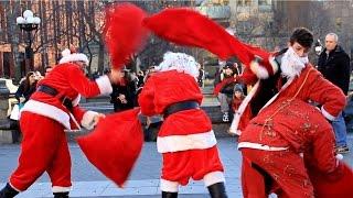 Huge Santa Con Fight In NYC!