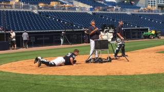 Gary Sanchez, Yankees catchers on belly for foul pop drill