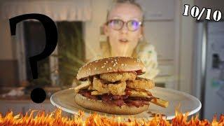 Hjemmelavet Pomfrit Bacon Løgrings BURGER🔥😋 (fråderen)
