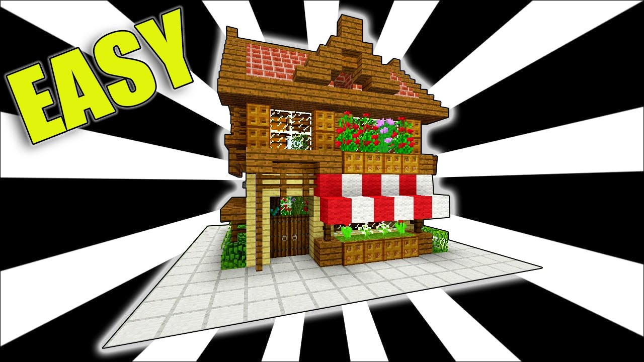 minecraft  how to make a shop     easy starter house