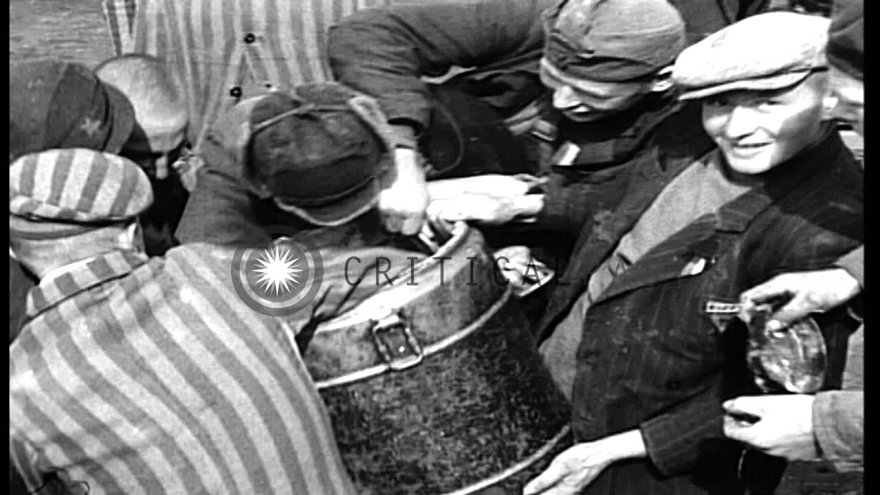Prisoners Eat Food From Container While Fighting At Dachau
