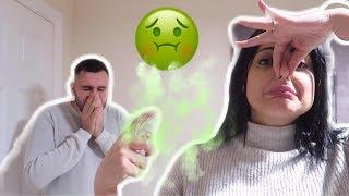 مقلب العطر   حطيت رائحة لا تطاق 🤢 شوفوا ردة فعل زوجي!!