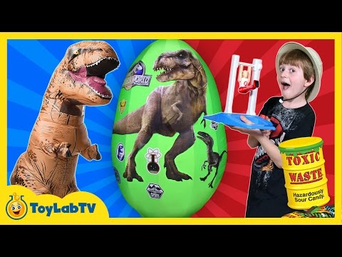 Thumbnail: Fantastic Gymnastics Challenge w/GIANT T-REX Surprise Egg Toys Sour Candy Family Fun Games for Kids