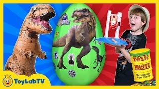 Repeat youtube video Fantastic Gymnastics Challenge w/GIANT T-REX Surprise Egg Toys Sour Candy Family Fun Games for Kids
