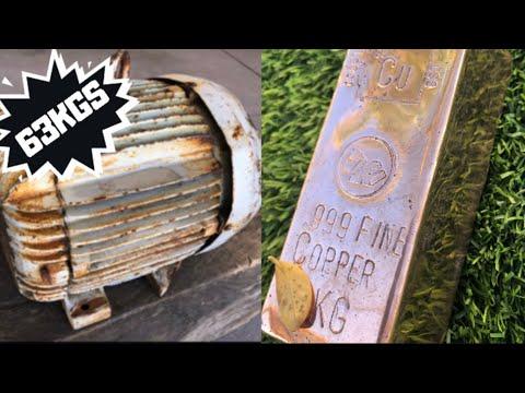 63 Kilo Motor Stripped for Copper Melt - Huge Copper Bar - ASMR Molten Metal Melting