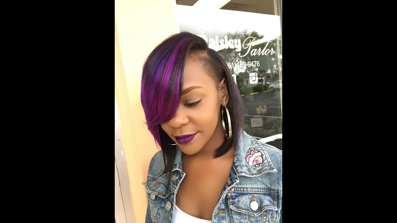 how to do a quick weave bob with a deep side part