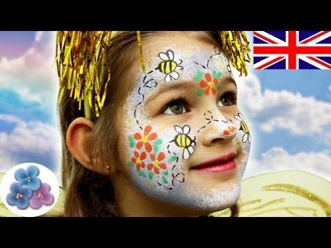 How to make a bee face painting ideas diy bee halloween for Pinturas de cara para halloween
